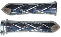 Polished Curved Grips for Kawasaki Models CrissCross Edition With Pointed Ribbed Ends (product code #A3261PR)
