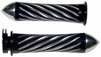 Anodized Black Straight Grips for Kawasaki Models Swirled Edition With Pointed Ends (product code #A3262BP)