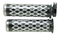 Anodized Black Straight Diamond Cut Grips with Flat Ends fits GSXR 600/750/1000/Hayabusa, Katana, B-King (product code: A4036BF)