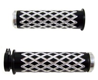 Anodized Black Grips Curved Diamond Cut with Flat Ends for Suzuki GSXR 600/750/1000 (96-10), Hayabusa (99-10), Katana (all years) (product code: A4037BF)