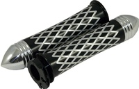 Anodized Black Grips Curved Diamond Cut with Pointed Ribbed Ends for Suzuki GSXR 600/750/1000 (96-10), Hayabusa (99-10), Katana (all years) (product code: A4037BPR)