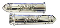 TRIPLE CHROMED STRAIGHT BILLET ALUMINUM GRIPS POLISHED WITH POINTED ENDS R6 (03-05) (product code CA3042P)