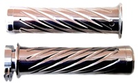 Triple Chrome Curved Grips With Swirled Design & Flat Ends for Honda (product code# CA3244)