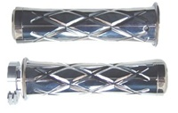 Triple Chromed Curved Grips With Criss Cross Design & Flat Ends for Honda (product code# CA3245)