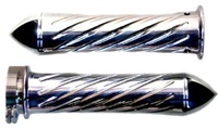 Triple Chromed Straight Grips With Swirled Design & Pointed Ends for Honda (product code# CA3246P)