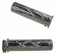 Triple Chromed Straight Grips With Criss Cross Design & Flat Ends for Honda (product code# CA3247)