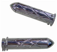 Triple Chromed Straight Grips With Criss Cross Design & Pointed Ends for Honda (product code# CA3247P)