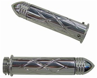 Triple Chromed Straight Grips With Criss Cross Design & Pointed Ribbed Ends for Honda (product code# CA3247PR)