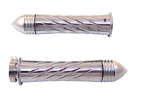 TRIPLE CHROMED SUZUKI GRIPS, CURVED IN, SWIRLED, POINTED RIBBED ENDS (PRODUCT CODE# CA3250PR)