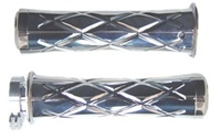 TRIPLED CHROMED SUZUKI GRIPS, CURVED IN, CRISS CROSSED, FLAT ENDS (PRODUCT CODE# CA3251)