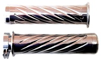 CHROME YAMAHA R1 GRIPS (00-Present), STRAIGHT, SWIRLED, FLAT ENDS (product code# CA3257)