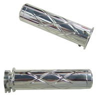 Polished Kawasaki Grips (All Years) Chrome, Criss Cross, Flat ends (product code# CA3259)