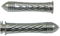 Tripled Chromed Straight Grips for Kawasaki ZX6, ZX7, ZX10, ZX12, ZX14, ZX636 (Fits all years) Swirled Edition With Pointed Ribbed Ends (product code #CA3260PR)