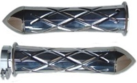 Chrome Curved Grips for Kawasaki Models CrissCross Edition With Pointed Ends (product code #CA3261P)