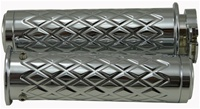 Triple Chrome Straight Diamond Cut Grips with Flat Ends fits GSXR 600/750/1000/Hayabusa, Katana, B-King (product code: CA4036F)