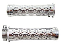 Chrome Grips Curved Diamond Cut with Flat Ends for Suzuki GSXR 600/750/1000 (96-Present), Hayabusa (99-Present), Katana (all years) (product code: CA4037F)