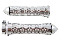 Chrome Grips Curved Diamond Cut with Pointed Ends for Suzuki GSXR 600/750/1000 (96-Present), Hayabusa (99-Present), Katana (all years) (product code: CA4037P)