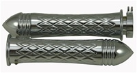 Chrome Grips Curved Diamond Cut with Pointed Ribbed Ends for Suzuki GSXR 600/750/1000 (96-Present), Hayabusa (99-Present), Katana (all years) (product code: CA4037PR)