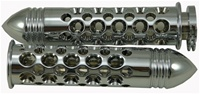 Yamaha R1/ R6R (00-Present) & R6S (03-09), Straight Grips with Holes & Pointed Ribbed Ends - Triple Chrome (product code: CA4050PR)