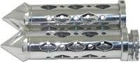 UNIVERSAL CHROME GRIPS WITH POINTED ENDS & DIAMOND CUT-OUT, SEE FITMENTS BELOW (PRODUCT CODE: CA4286P)