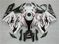2004-2005 Honda CBR 1000RR White/Red Flame Fairings | NH10405-16