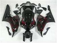 2006-2007 Honda CBR 1000RR Black/Red Flame Fairings | NH10607-68