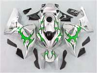 2006-2007 Honda CBR 1000RR Silver/Tribal Green Fairings | NH10607-87