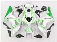 2006-2007 Honda CBR 1000RR Green Flame/White Fairings | NH10607-98