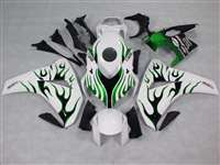 2008-2011 Honda CBR 1000RR White/Green Flame Fairings | NH10811-11