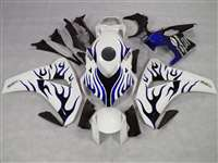 2008-2011 Honda CBR 1000RR White/Blue Flame Fairings | NH10811-12