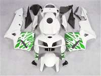 2005-2006 Honda CBR 600RR Green Tribal on White Fairings | NH60506-38