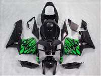 2005-2006 Honda CBR 600RR Green Tribal on Black Fairings | NH60506-42