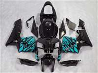 2005-2006 Honda CBR 600RR Teal Tribal on Black Fairings | NH60506-43