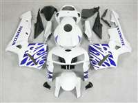 2005-2006 Honda CBR 600RR White/Blue Tribal Fairings | NH60506-66