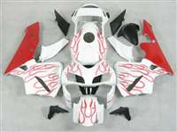 2005-2006 Honda CBR 600RR Red Flame on White Fairings | NH60506-67