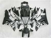 2007-2008 Honda CBR 600RR White Flamed Fairings | NH60708-21