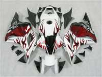2009-2012 Honda CBR 600RR White/Red Flame Fairings | NH60912-4