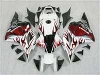 2009-2012 Honda CBR 600RR White/Red Flame Fairings | NH60912-41