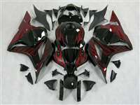 2009-2012 Honda CBR 600RR Black/Red Flame Fairings | NH60912-6