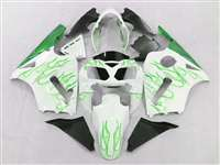 2002-2005 Kawasaki ZX12R White/Green Flames Fairings | NK10205-25