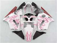 2002-2005 Kawasaki ZX12R White/Red Flames Fairings | NK10205-26