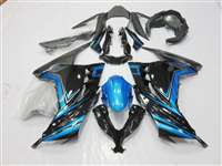 2013-2017 Kawasaki Ninja 300 Arctic Black/Blue Motorcycle Fairings | NK31317-6