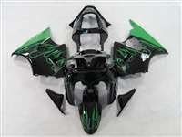 Kawasaki 2000-2002 ZX6R and 2005-2009 ZZR600 Green Flame Fairings | NK60002-1