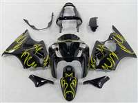 Kawasaki 2000-2002 ZX6R and 2005-2009 ZZR600 Yellow Tribal Fairings | NK60002-14
