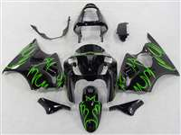Kawasaki 2000-2002 ZX6R and 2005-2009 ZZR600 Bright Green Tribal Fairings | NK60002-15