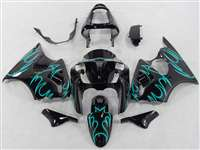 Kawasaki 2000-2002 ZX6R and 2005-2009 ZZR600 Teal Tribal Fairings | NK60002-17