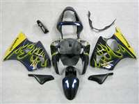 Kawasaki 2000-2002 ZX6R and 2005-2009 ZZR600 Yellow Flame Kanji Fairings | NK60002-22