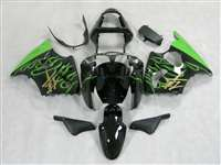 Kawasaki 2000-2002 ZX6R and 2005-2009 ZZR600 Electric Green Flames Fairings | NK60002-25