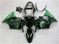 Kawasaki 2000-2002 ZX6R and 2005-2009 ZZR600 Mean Green Flame Fairings | NK60002-35
