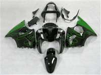 Kawasaki 2000-2002 ZX6R and 2005-2009 ZZR600 Mean Green Flame Fairings | NK60002-37